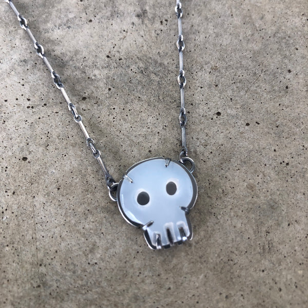 tiny white chalcedony skull necklace