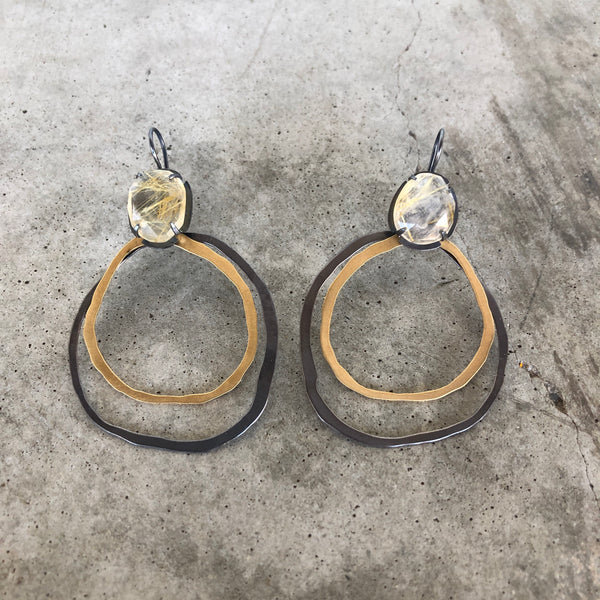 2 layer round rough cut and rutilated quartz earrings