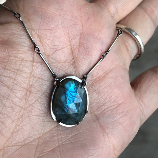 labradorite vertical oval necklace