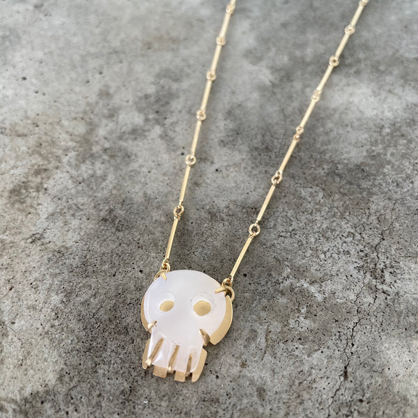 tiny white chalcedony skull necklace-vermeil