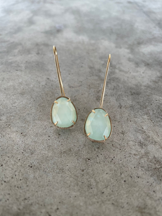 aqua chalcedony drop earrings-vermeil