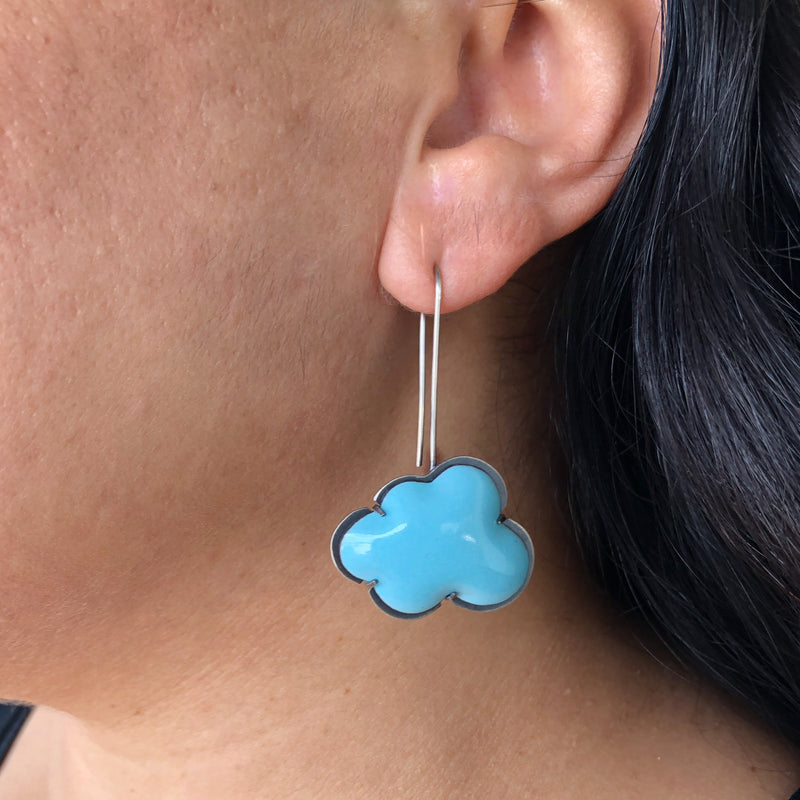 blue enamel cloud earrings - Lisa Crowder Studio