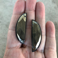 faceted pyrite post earrings