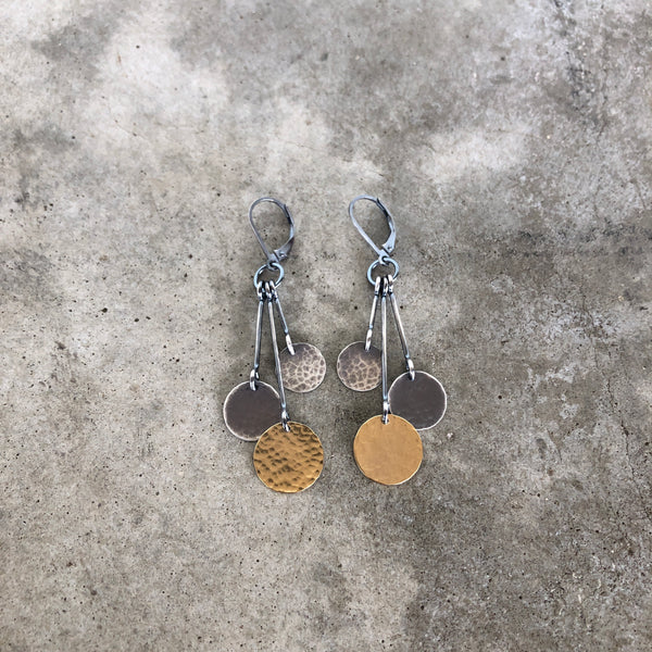 three hammered disc earring - Lisa Crowder Studio