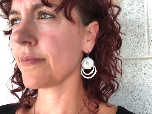 small solar quartz rough cut earrings - Lisa Crowder Jewelry