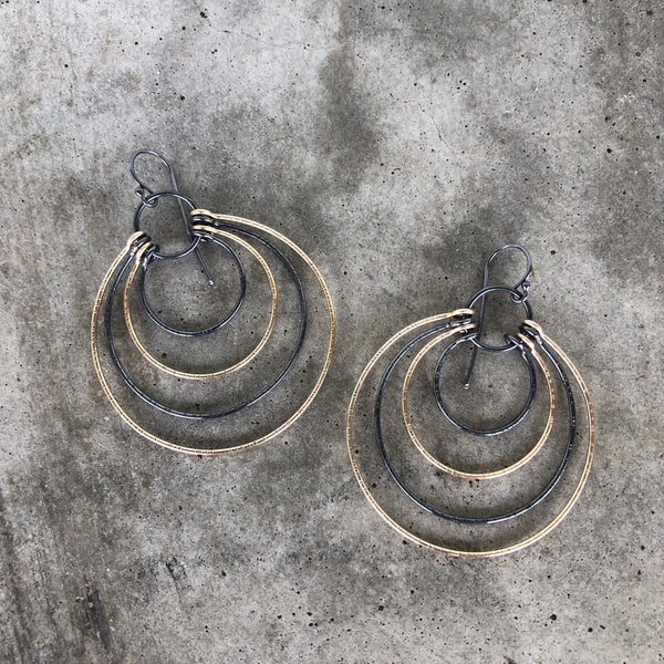 multi circle hatch earrings
