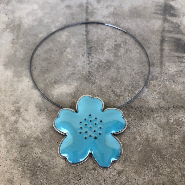 enamel flower pendant-turquoise - Lisa Crowder Jewelry