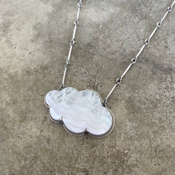 blue lace agate cloud necklace