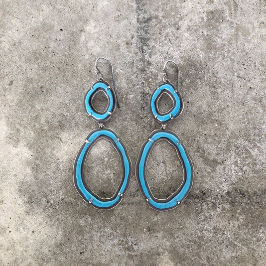 thin two rough cut turquoise enamel earrings - Lisa Crowder Jewelry