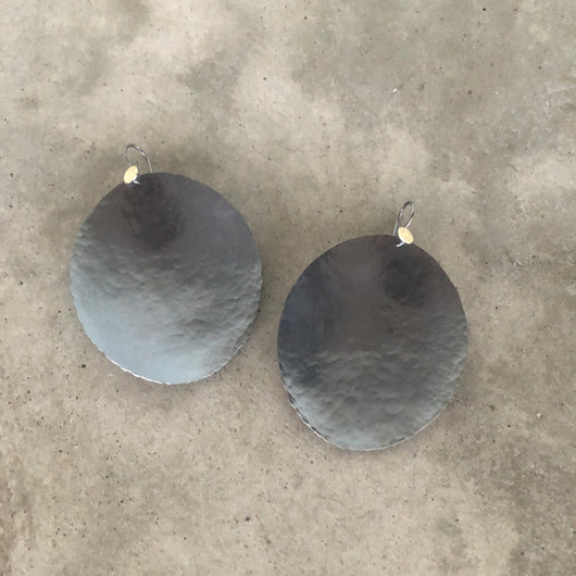 fantastically large hammered oval earrings - Lisa Crowder Jewelry
