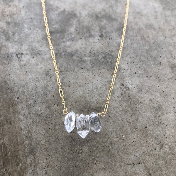triple herkimer diamond stone necklace - Lisa Crowder Jewelry