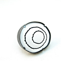 large white and black stitched enamel ring - Lisa Crowder Jewelry
