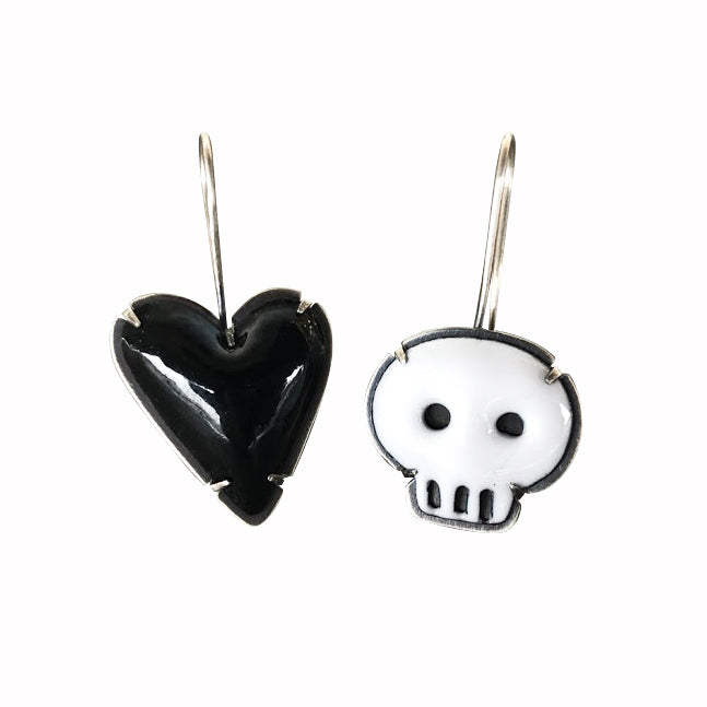 mismatch heart and skull earrings - Lisa Crowder Studio