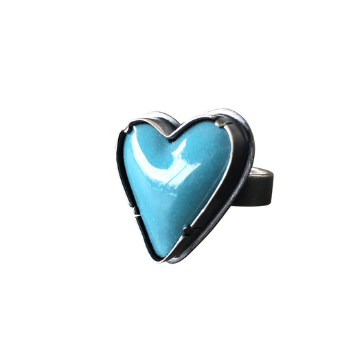 turquoise enamel heart ring - Lisa Crowder Studio