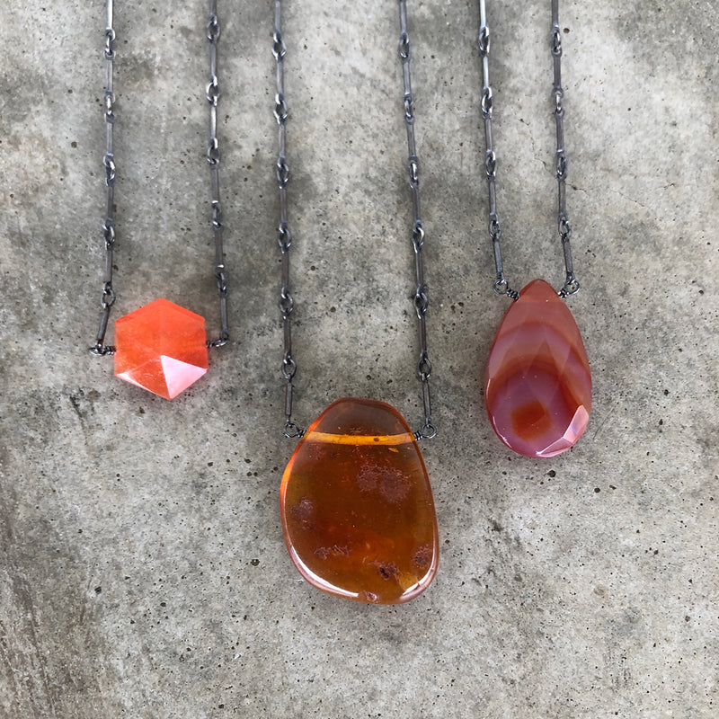 single stone necklace-orange