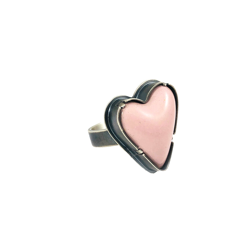 pink enamel heart ring - Lisa Crowder Studio