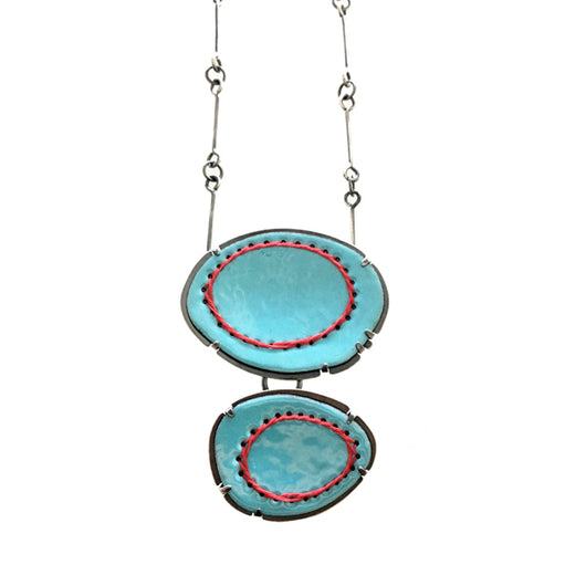 double enamel stitched pendant - Lisa Crowder Jewelry