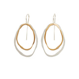 large two layer thin rough cut two-tone earring - Lisa Crowder Jewelry