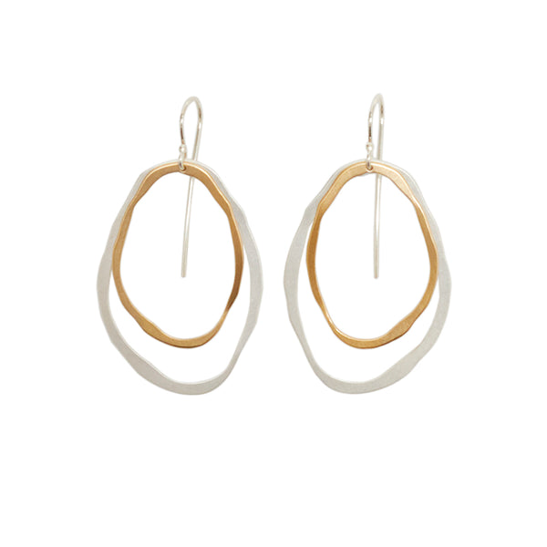 large two layer thin rough cut two-tone earring - Lisa Crowder Studio