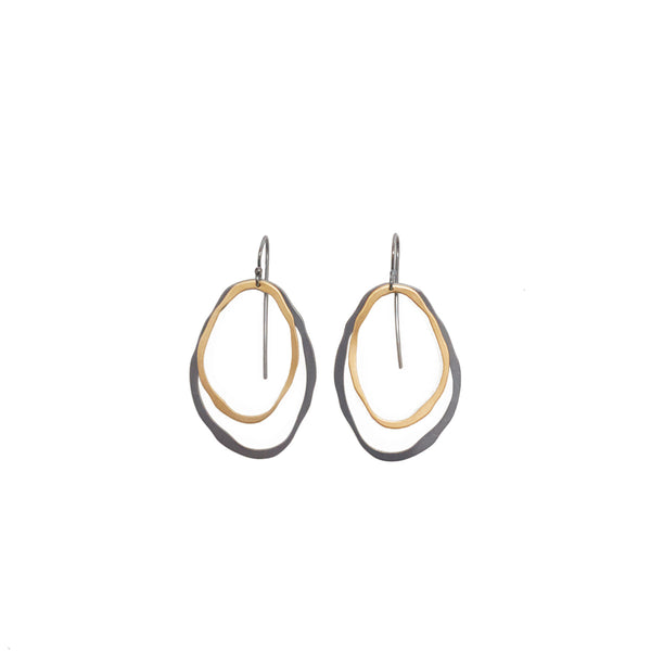 small two layer thin rough cut two-tone earrings - Lisa Crowder Studio