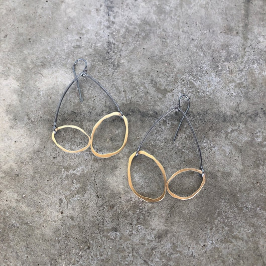rough cut double arch earrings - Lisa Crowder Jewelry