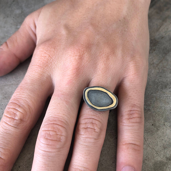 tiny rough cut double layer horizontal ring - Lisa Crowder Studio