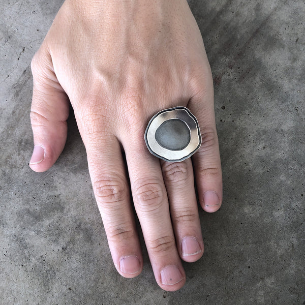 medium single rough cut double layer ring - Lisa Crowder Studio