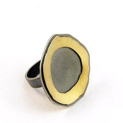 medium single rough cut double layer ring - Lisa Crowder Jewelry