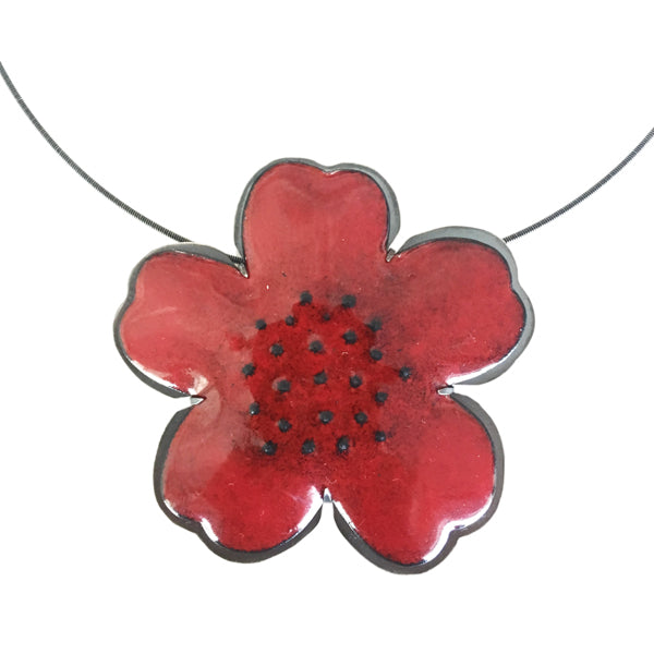 red enamel flower pendant - Lisa Crowder Studio