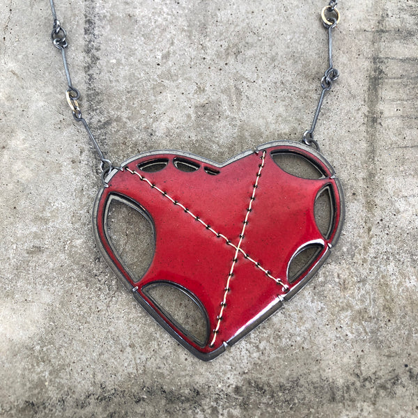 enamel scallop stitch heart necklace - Lisa Crowder Studio