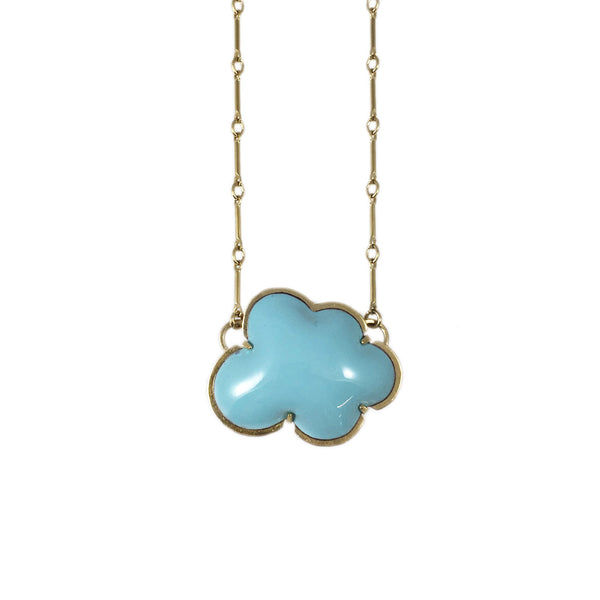 vermeil small blue enamel cloud necklace - Lisa Crowder Studio