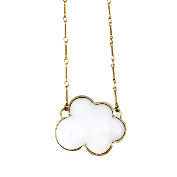 vermeil small white enamel cloud necklace - Lisa Crowder Studio