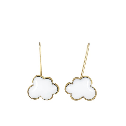 vermeil white enamel cloud earrings - Lisa Crowder Jewelry
