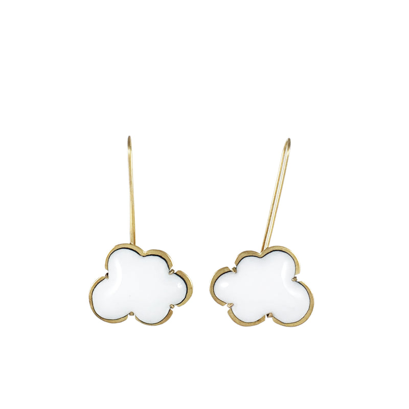 vermeil white enamel cloud earrings - Lisa Crowder Studio