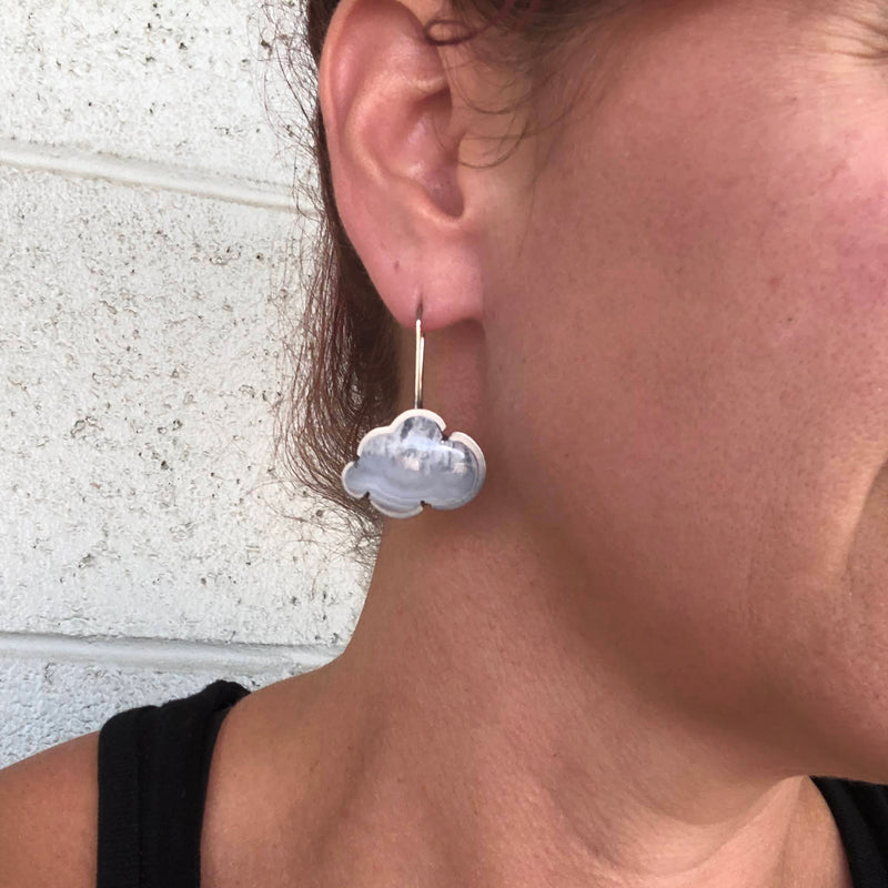 blue lace agate cloud earrings
