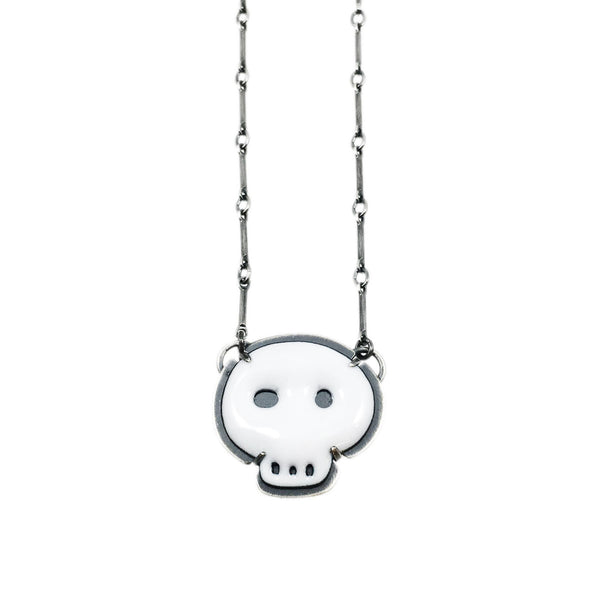 tiny white skull necklace - Lisa Crowder Studio