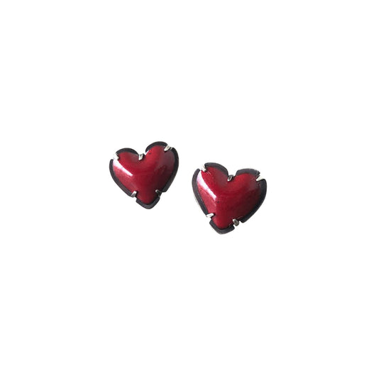 tiny enamel heart post earrings-red - Lisa Crowder Jewelry
