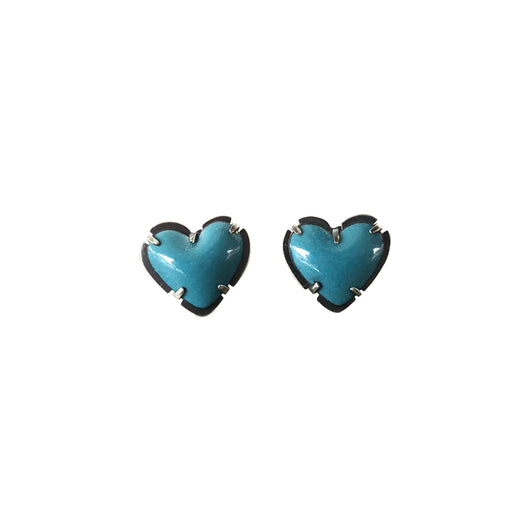 tiny enamel heart post earrings-turquoise - Lisa Crowder Jewelry