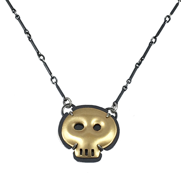 tiny vermeil skull necklace - Lisa Crowder Studio
