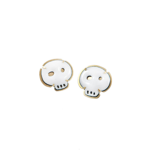 vermeil white tiny skull earrings (post) - Lisa Crowder Jewelry