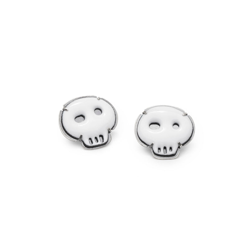 white tiny skull earrings (post) - Lisa Crowder Studio