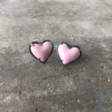 tiny enamel heart post earrings-pink - Lisa Crowder Jewelry