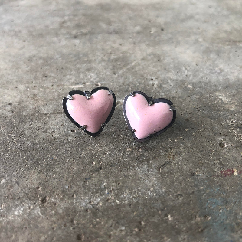 tiny enamel heart post earrings-pink - Lisa Crowder Studio