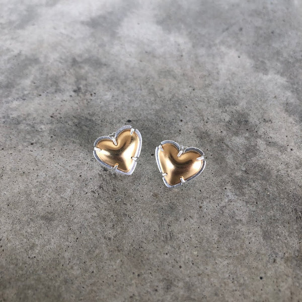 vermeil tiny heart post earrings