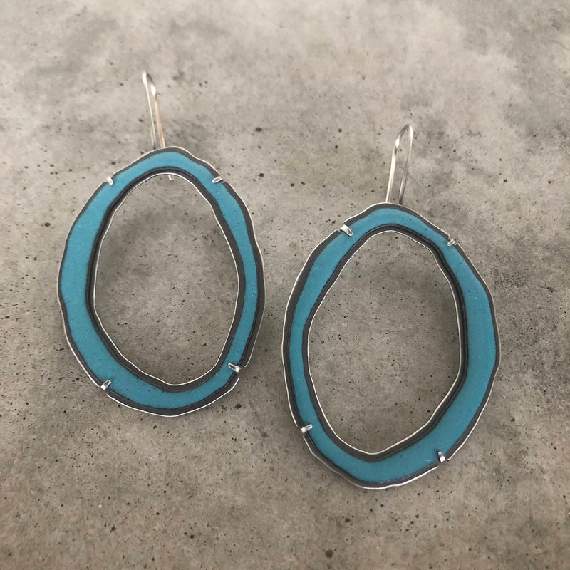 large rough cut enamel earring - Lisa Crowder Jewelry