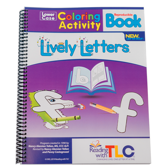 New Generation Lively Letters™ Reproducible Lowercase Coloring Activity Book-Digital Download E-Book