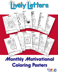 Lively Letters Monthly Motivational Coloring Posters