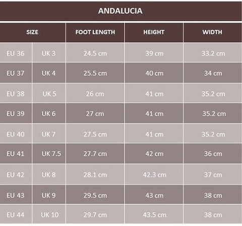 Andalucia boots size guide