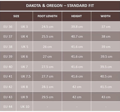 dakota waterproof country boots size guide