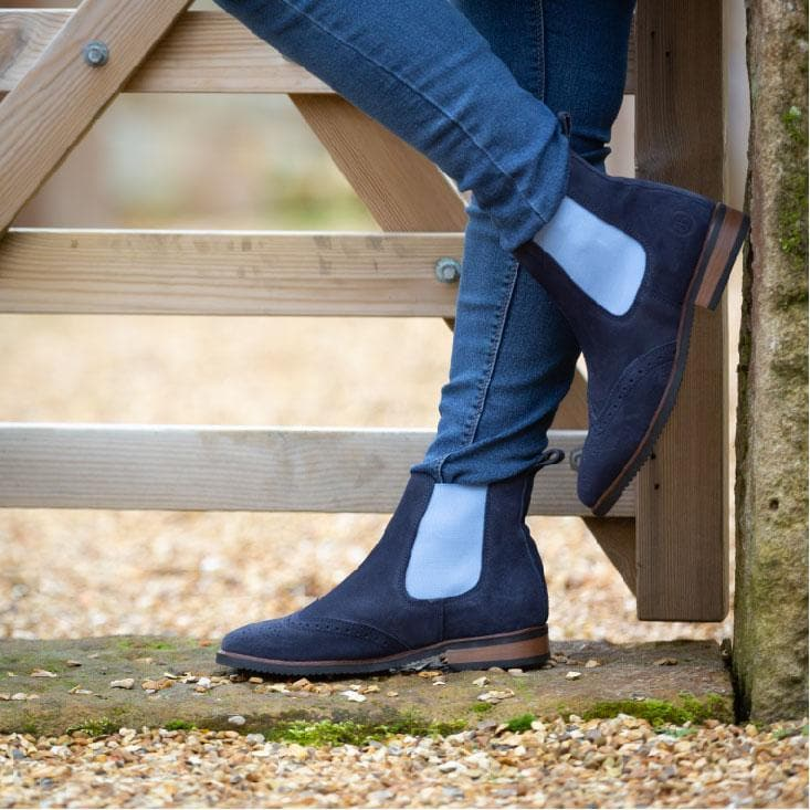 Charleston navy suede short boots